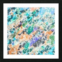 psychedelic geometric square pixel pattern abstract in green blue purple orange Picture Frame print