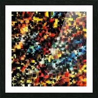 psychedelic geometric pixel square pattern abstract background in red orange blue yellow black Picture Frame print