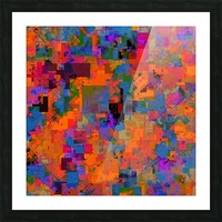 psychedelic geometric square pattern abstract background in orange blue red Picture Frame print