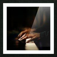 Hands playing piano close-up Picture Frame print