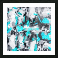 splash painting texture abstract background in blue and black Picture Frame print