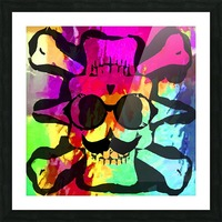 old vintage funny skull art portrait with painting abstract background in red purple yellow green Picture Frame print