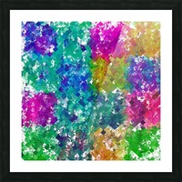 psychedelic geometric square pixel pattern abstract background in blue green yellow pink purple Picture Frame print