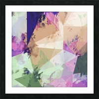 psychedelic geometric triangle polygon pattern abstract in pink green brown blue Picture Frame print