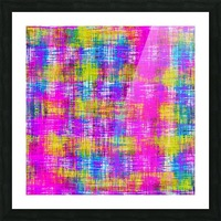 plaid pattern painting texture abstract background in pink purple blue yellow Picture Frame print