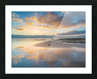 Beach sunrise reflected on the wet sand Picture Frame print