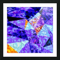 vintage psychedelic geometric triangle polygon pattern abstract in purple blue orange Picture Frame print