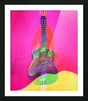 Guitar on Pink  Picture Frame print