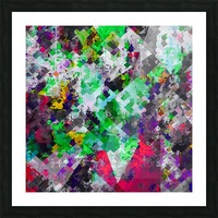 vintage psychedelic geometric square pixel pattern abstract in green red purple yellow Picture Frame print