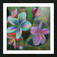 Painterly Frangipanis Picture Frame print