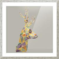 Deer mosaic Picture Frame print