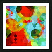 geometric square pixel and circle pattern abstract in red blue yellow Picture Frame print