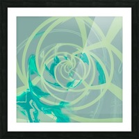 spiral line pattern painting texture abstract in blue green Picture Frame print