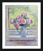 Tea Roses Bouquet on the Windowsill Picture Frame print