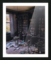 Abandoned Mansion Library Picture Frame print