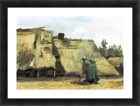 Farmhouse with farmer digging by Van Gogh Picture Frame print