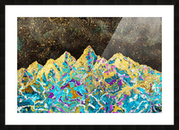 Gold Turquoise Mountain - Illustration I Picture Frame print