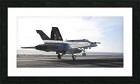 An F-A-18E Super Hornet touches the flight deck of USS Nimitz. Picture Frame print