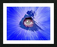 Eye behind wall crack Picture Frame print