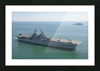 USS Wasp and USS San Antonio transit in formation in the Atlantic Ocean. Picture Frame print