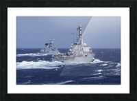 USS Carney practices diversion tactics with the German frigate Sachsen. Picture Frame print