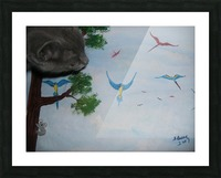 Real Kitty Hunting The Macaws Picture Frame print