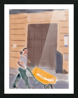 Cuba Wheelbarrow Worker Picture Frame print