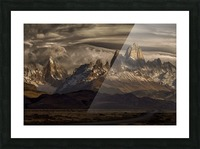 Striped sky over the Patagonia spikes Picture Frame print