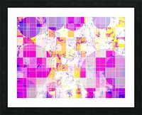 geometric square and circle pattern abstract in pink purple yellow Picture Frame print