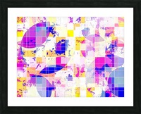 geometric square and circle pattern abstract in pink blue yellow Picture Frame print