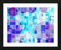 geometric square and circle pattern abstract in blue Picture Frame print