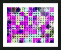 geometric square and circle pattern abstract in pink blue Picture Frame print