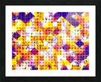 geometric square and circle pattern abstract in orange blue Picture Frame print