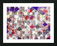 geometric square pixel pattern abstract in purple orange red Picture Frame print