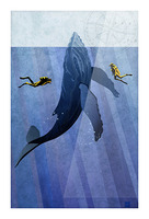 Scuba Dive with Whale Picture Frame print