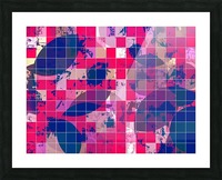 geometric square and circle pattern abstract background in red pink blue Picture Frame print