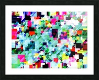 geometric square pixel pattern abstract in green pink blue yellow Picture Frame print