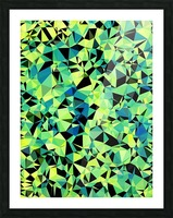 geometric triangle pattern abstract in green blue black Picture Frame print