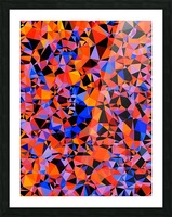 geometric triangle pattern abstract in blue orange red Picture Frame print