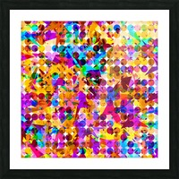 geometric circle and triangle pattern abstract in orange blue pink purple Picture Frame print