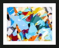 painting texture abstract in blue orange green yellow Picture Frame print
