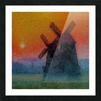 SUNDOWN ON WINDMILLS Picture Frame print