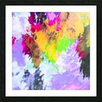 painting texture abstract background in purple yellow green pink Picture Frame print