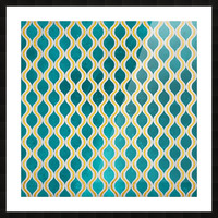 Gold - Turquoise pattern I Picture Frame print