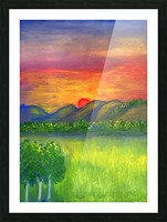 Mystical red sunset Picture Frame print