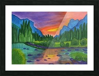 Mountain river in the background of the forest and the blue mountains at sunset Picture Frame print