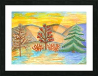 Winter landscape at sunset Picture Frame print