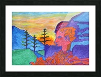 Mystical rock with a profile at sunrise Picture Frame print