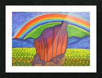 Mystical rock under the rainbow Picture Frame print