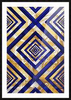 Geometric Gold Dark Blue Marble Picture Frame print